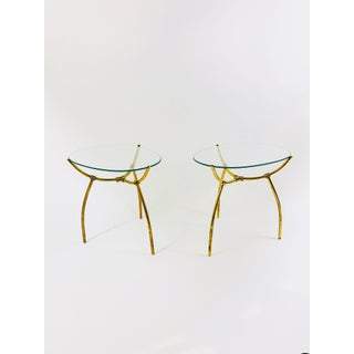 French Brass and Egg-Shaped Glass Side Tables, Early 20th Century - a Pair Preview
