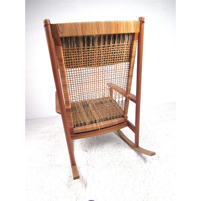 1950s Scandinavian Modern Teak and Cane Rocking Chair by Hans Olsen For Sale - Image 5 of 13