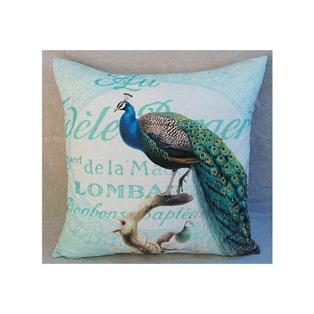 French Script Linen Pillow with Peacock - Image 2 of 7