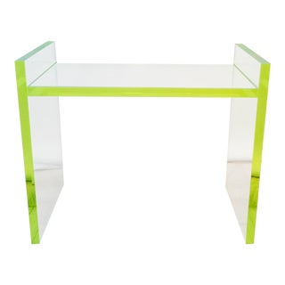 Contemporary Neon Detailed Clear Acrylic Bench For Sale
