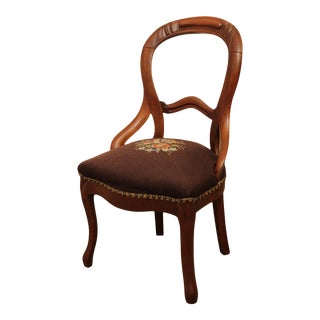 Antique Victorian Walnut Needlepoint Seat Side Chair For Sale