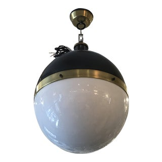 Thomas O'Brien Modern Hicks Extra Large Pendant in Bronze and Hand-Rubbed Antique Brass With White Glass For Sale