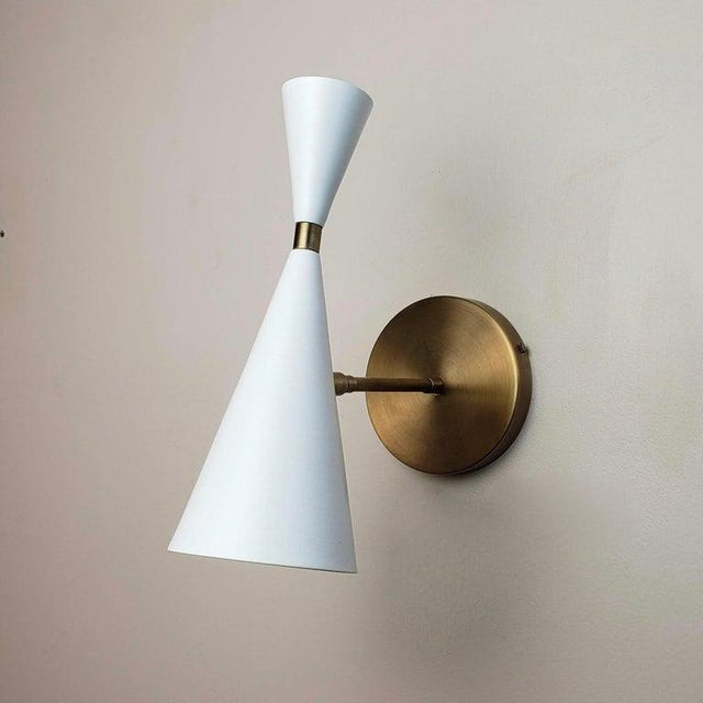"Mid-Century Modern Blueprint Lighting Nyc ""Monolith"" Natural Brass & White Enamel Sconce For Sale - Image 3 of 6"