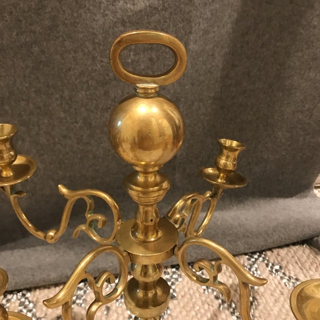 Vintage Estate Scale Brass Candlestick Candleabra - a Pair For Sale - Image 4 of 7