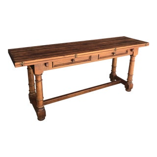 Century French Country Drop Leaf Dining Console Table For Sale