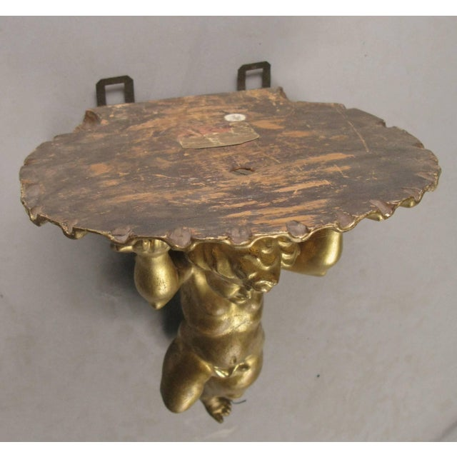 Wood Pair of 19th Century Carved and Gilded Putti Brackets For Sale - Image 7 of 9