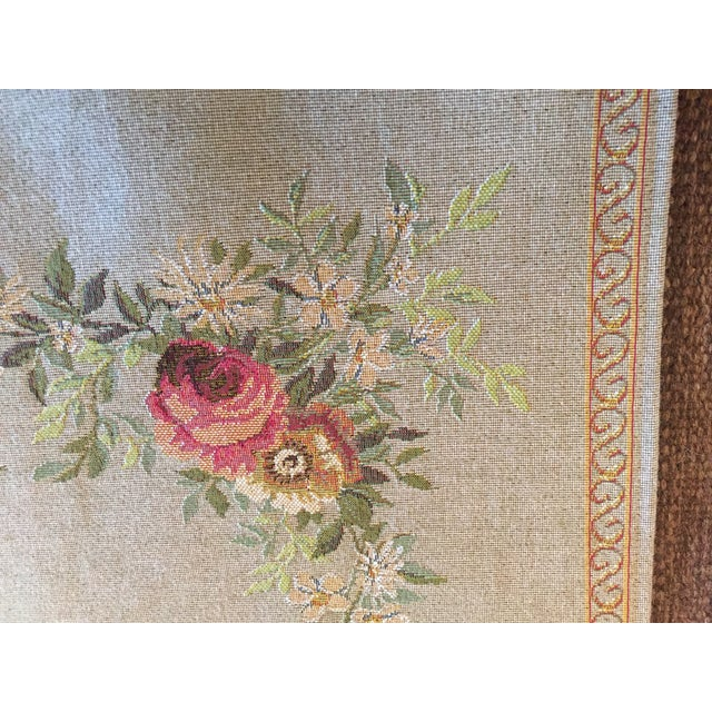 Beautiful machine power loom made French Tapestry with rose baroque design. Made in France 50/50 wool (laine) and cotton...