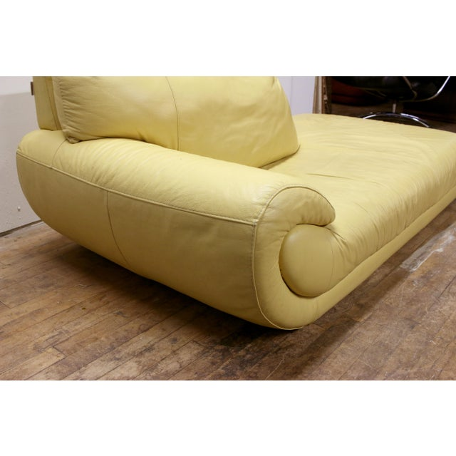 Mid-Century Modern Vintage Mid-Century Modern Nicoletti Italian Leather Canary Yellow Low Daybed For Sale - Image 3 of 12