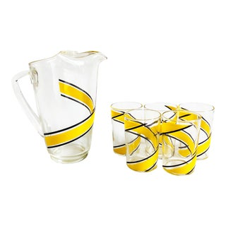 Mid Century Yellow Swirl Drink Set - 6 Pieces For Sale