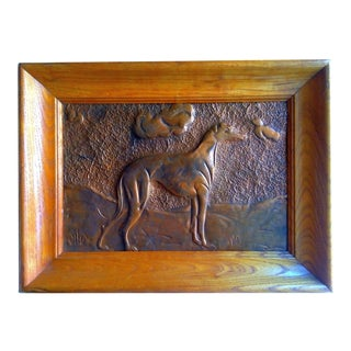 Greyhound Copper Relief Arts and Crafts Wood