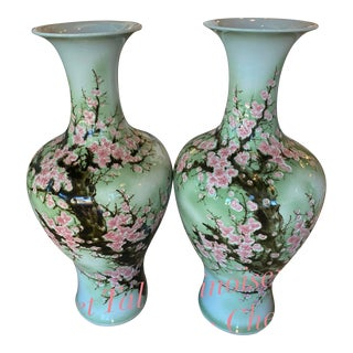 Vintage Japanese Monumental Size Ginger Jars Celadon Green Pink Cherry Blossoms -A Pair For Sale