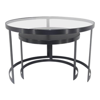 21st Century Set of Two Iron Nesting Tables with Glass and Wood Tops, Spain