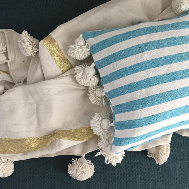 Moroccan Blue & White Pompom Pillow Cover For Sale - Image 3 of 4