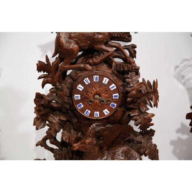 Black Forest Carved Walnut Black Forest Clock & Matching Vases - Set of 3 For Sale - Image 3 of 10