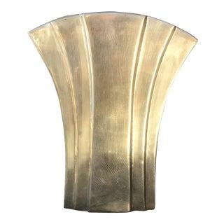 Vintage Art Deco Solid Brass Vase For Sale