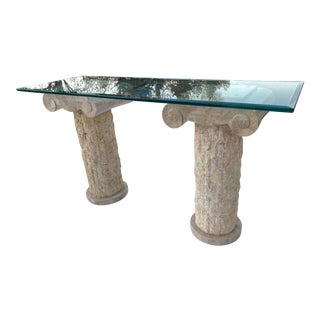 Mid-Century Modern Maitland-Smith Tessellated Stone Ionic Column Heavy Beveled Glass Top Console Table For Sale