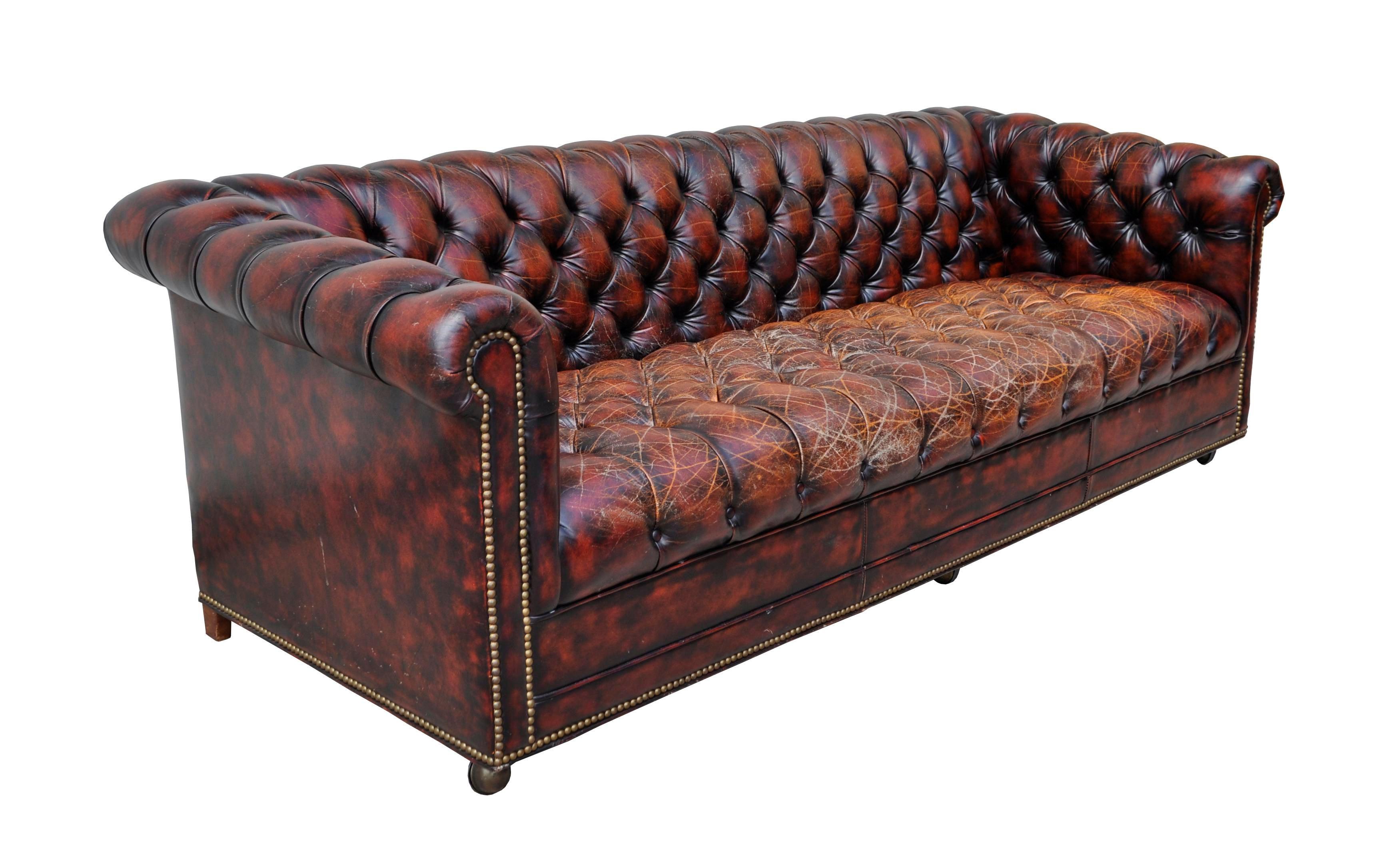 1940s Original English Oxblood Chesterfield Sofa Chairish