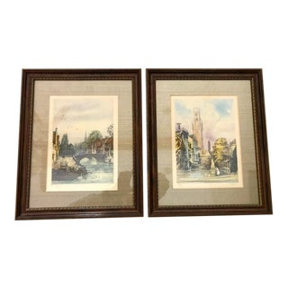 Pair of V. Carre' Etchings - Framed For Sale