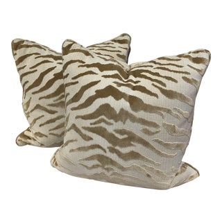Hollywood Regency Beacon Hill Tiger Pillows - a Pair For Sale