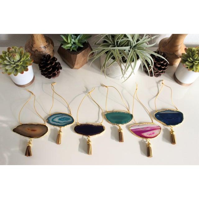 Modern Boho Agate Holiday Ornaments - Set of 6 - Image 4 of 10