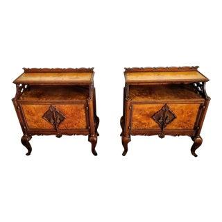 Italian Mid-Century Burlwood Bedside Tables - a Pair For Sale