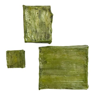 Textured Green Ceramic Wall Tiles -Set of 3