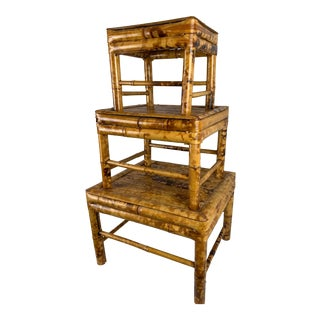 Vintage Burnt Bamboo Stacking Tables - Set of 3 For Sale