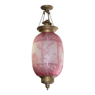 Beautiful Pink Oil Lantern Or Pendant Signed By ''BACCARAT''Circa 1890s