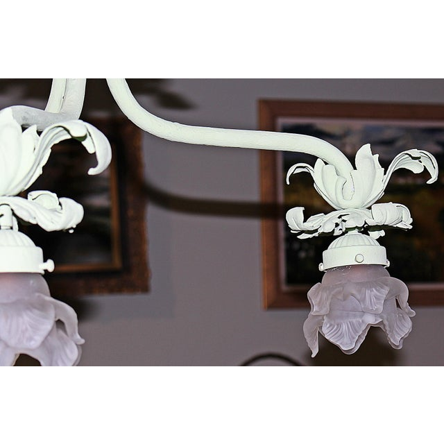 1920s 1920s Painted French Wrought Iron Chandelier For Sale - Image 5 of 7