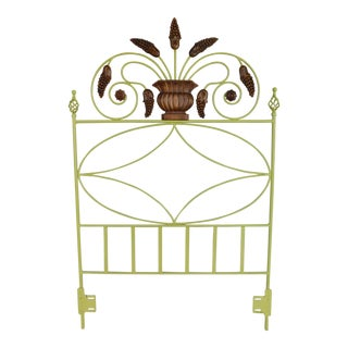 Country French Style Wrought Iron Paint Decorated Twin Headboard For Sale