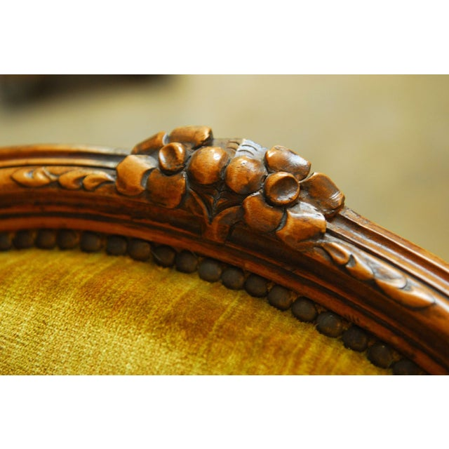 Louis XV Handcarved Topaz Velvet Bergeres - A Pair - Image 3 of 8