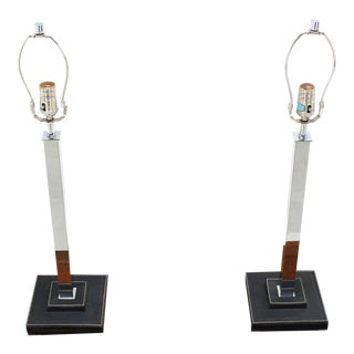 Pair of Chrome Modern Table Lamps by Nessen For Sale