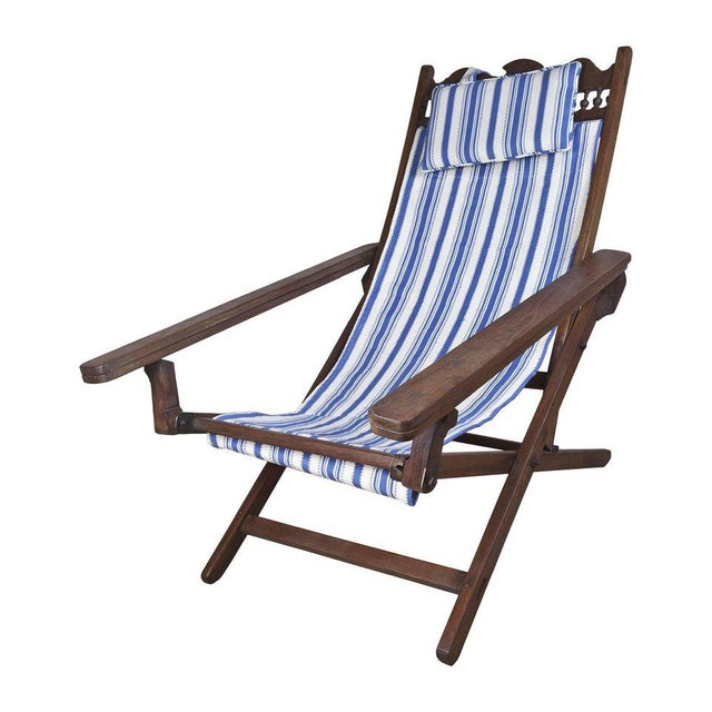 Campaign Folding, Adjustable, Sling-Back Plantation Chair With Extending Leg Rests For Sale - Image 3 of 6