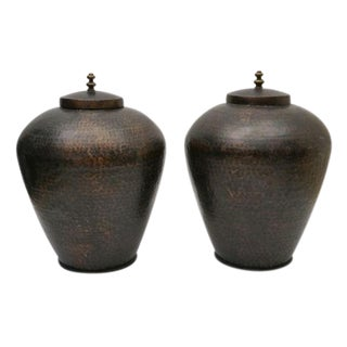 Large Hammered Patinated Brass Urns With Lids