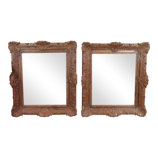 Pair of 19th Century French Carved Oak Mirrors For Sale
