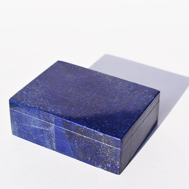 Blue Lapis Lazuli and Marble Stone Rectangular Decorative Jewelry or Trinket Box For Sale In Oklahoma City - Image 6 of 7