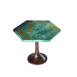 1950's Hollywood Regency Aldo Tura Hexagonal Side Table For Sale