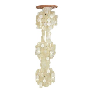Verner Panton Capiz Shell Three-Tier Chandelier Fixture For Sale