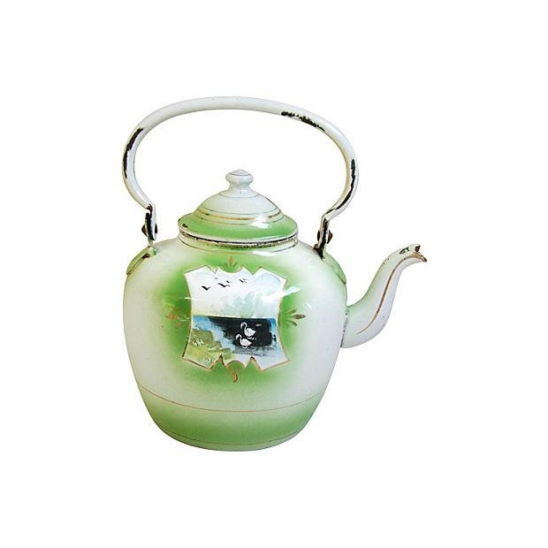 Early 1900s Hand-Painted French Country Tea Kettle Pot For Sale In Los Angeles - Image 6 of 9