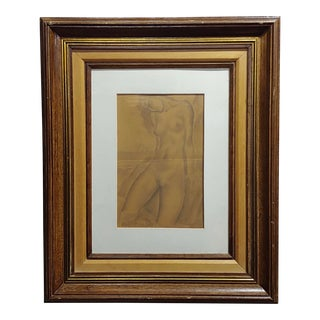 Sensual Nude Beach Hiding -Original Panting Pencil on Paper-C1950s For Sale