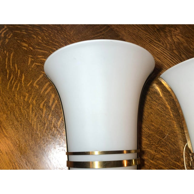 1970s Vintage Art Deco Gold and White Glass Theatre Sconces - a Pair For Sale - Image 5 of 13