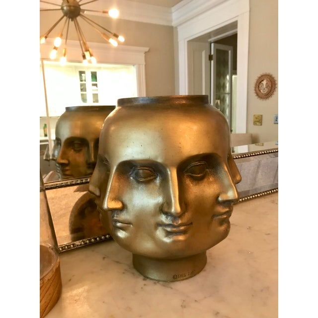 Modern Pietro Fornasetti Style Dora Marr Gold Perpetual Face Vase For Sale In Boston - Image 6 of 8