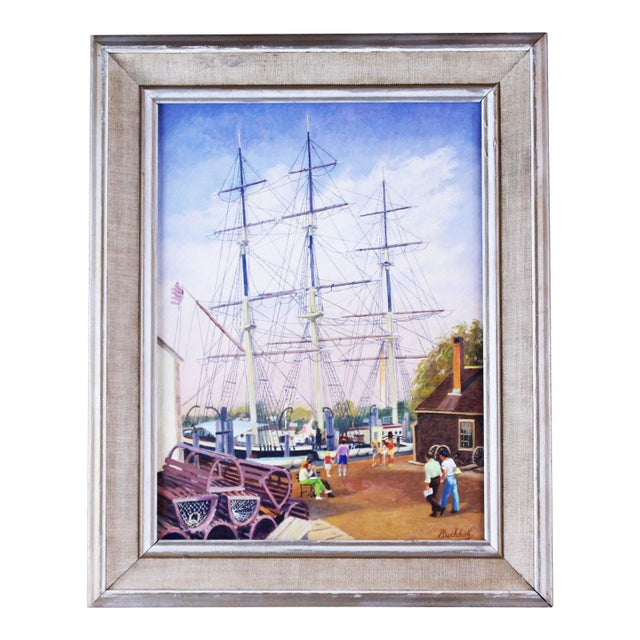 """20th Century Nautical Painting, """"Masts at Mystic"""" by Frederick Buchholz For Sale - Image 4 of 4"""