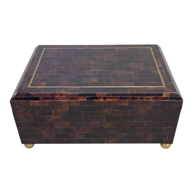Karl Springer Style Tessellated Horn Box by Maitland Smith For Sale