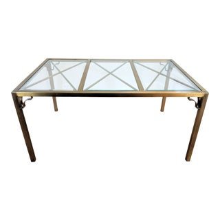 Hollywood Regency Brass Lattice Parsons Dining Table For Sale
