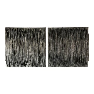 Contemporary Brutalist Style Abstract Diptych Oil Paintings - a Pair For Sale