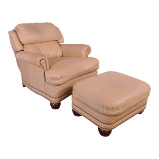 Southwood Quality Tan Leather Reclining Lounge Chair with Ottoman For Sale