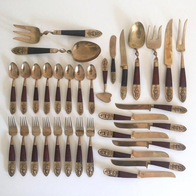 Vintage Mid-Century Brass Rosewood Siam Buddha Flatware & Wood Case ...