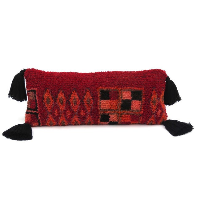 Textile Vintage Moroccan Rug Throw Pillow For Sale - Image 7 of 7