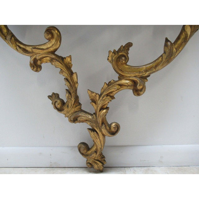 Antique French Carved Marble Top Wall Shelf Console - Image 5 of 11